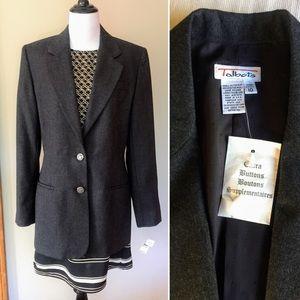 NWT Vintage 90s Talbots wool long blazer jacket M